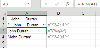 Here is how Trim works: Say that A1 has spaces, then Word1 then several spaces then Word2 then several spaces. =TRIM(A1) will return Word1 Space Word2. While TRIM removes all spaces before the first word and after the last word, it will leave a single space between words.