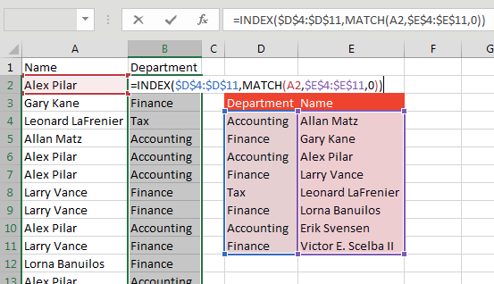 The solution is to use INDEX and MATCH. =INDEX($D$4:$D$11,MATCH(A2,$E$4:$E$11,0)).