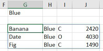 Change G1 from Red to Blue and you get three records returned, representing the rows for the Blue team.