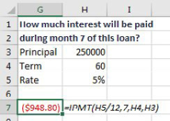 To calculate the interest during the 7th month of a loan, use =IPMT(H5/12,7,H4,H3). The next example will replace that 7 with a SEQUENCE function.