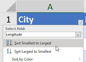 After choosing Longitude in the City drop-down, choose Sort Smallest to Largest. This will sort cities West-to-East.