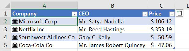 Use the Stocks data type icon and convert the company names to data types. Data type formulas let you ad CEO, stock price.