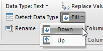 Choose column A. Open the Fill drop-down menu and choose FIll, Down.