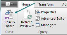 On the Home tab in Power Query, choose Close & Load.