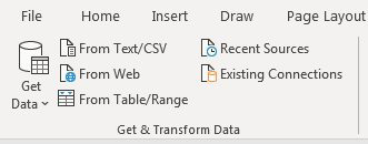 The Get & Transform Data group includes Get Data, From Text/CSV, From Web, From Table/Range, Recent Sources, Existing Connections.