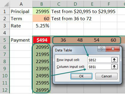 The data table dialog asks for a Row Input Cell and a Column Input cell. Since you have monthly terms across the top row, those should get plugged in to B2. The loan principal along the left column should be plugged in to B1.