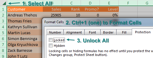 Select all cells and change the Locked property to off.