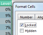 With only the formula cells selected, set Locked property to On.