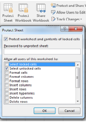Use the Protect Sheet icon on the Review tab. You can choose what people can do to a protected sheet. In this screenshot, only Select Unlocked Cells is available.