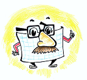 A cartoon spreadsheet is where a Groucho Marx nose and glasses.