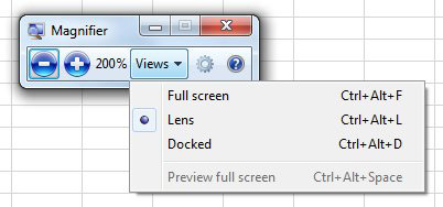 This shows the Magnifier toolbar. There are three views for Windows Magnifier:  Full Screen, Lens, or Docked. In this figure, Lens is chosen.