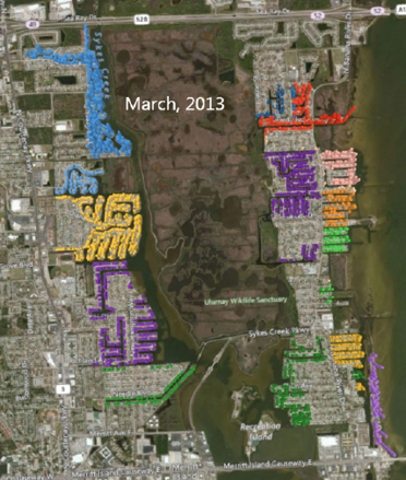 14 housing allotments are plotted in different colors. In this view from directly overhead, you can't really make out the height of the columns. This view is from March 2013.
