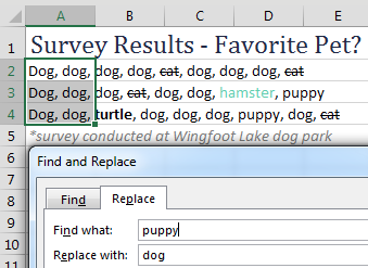 In Excel, many words have formatting applied: font color, strikethrough, and so on. You are about to use Find & Replace to change Puppy to Dog.