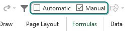 When added to the QAT, Automatic and Manual appear with a checkbox and provide an awesome visual indicator that you are not in Automatic calculation mode.