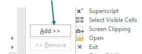 When you select a useful command on the left side of the dialog, click the Add>> button in the center of the dialog.