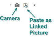 Two icons on the QAT:  Camera and Paste As Linked Picture.