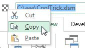 Right-click Document Location and choose Copy from the menu offering Cut, Copy or Paste.