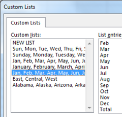 3 Custom Lists are shown. One with East, Central, West. One with a list of the 50 states. One with 12 month abbreviations, followed by the word Total.