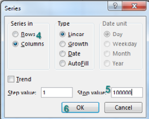 The Series dialog says Series in Columns, Type Linear, Step Value 1, Stop Value 100000. Click OK.