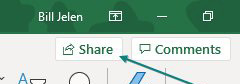The top right of the Excel window offers icons for Share and Comments. Click Share.