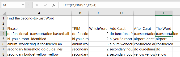 Isolate the next-to-last word using MID and FIND