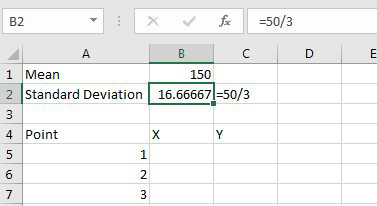 This spreadsheet shows the cells described in the four steps above.