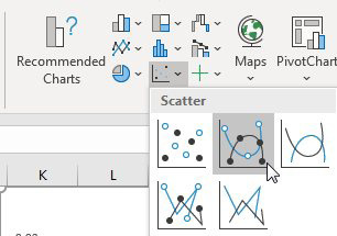 On the Insert tab, there are five thumbnails in the XY-Scatter chart drop-down. You want the second thumbnail which has points and smooth lines.