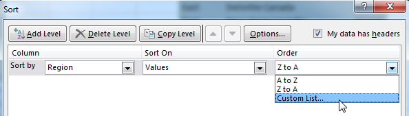 This screenshot shows detail of the Sort dialog. It says Sort by Region, Sort on Values. In the Order dropd-down menu, you can choose A to Z, Z to A or Custom List. Choose Custom List.