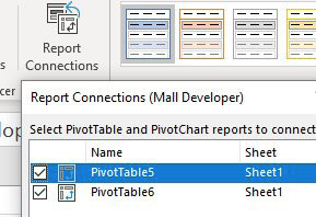 From the Slicer Tools tab in the Ribbon, select Report Connections. Hook the slicer up to both of the original pivot tables.