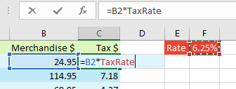 After naming the range, any new formulas will use the named range. For example, =B2*TaxRate. In this case, TaxRate is like an absolute reference. As you copy the formula, it will keep pointing at the TaxRate in F1.