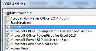 In the COM Add-ins dialog, Inquire is in the list but is not enabled. Check the box next to Inquire to load it.