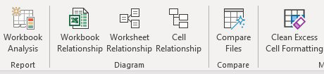 There are six tools on the Inquire tab: Workbook Analysis, Workbook Relationship, Worksheet Relationship, Cell Relationship, Compare Files, and Clean Excess Cell Formatting.