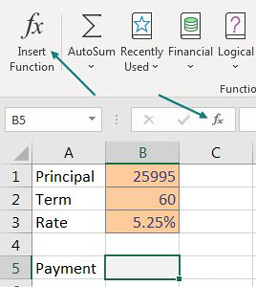 A simple model to calculate a car payment. The principal of 25995 is in B1. The Term of 60 months in B2. The interest rate of 5.25% in B3. The payment cell of B5 is selected. You can either choose Insert Function on the Formulas tab, or click the small script fx to the left of the formula bar.