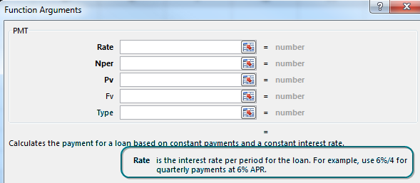 The Function Arguments dialog for PMT has boxes for the five arguments: Rate, NPER, PV, FV, and Type. The labels for the first three arguments are bold, indicating they are required. As you click into the rate box, help at the bottom gives an example of 6%/4 for quarterly payments at 6% interest.