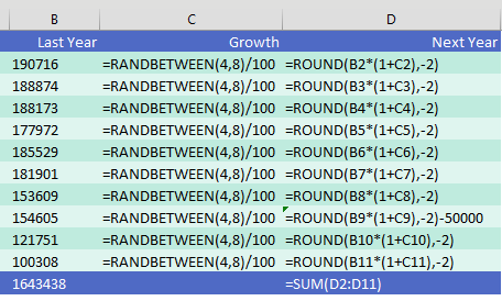 In show formulas mode, the columns become slightly wider and you see the formulas in each cell instead of the values.