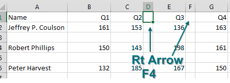 Keep deleting columns with Right-Arrow, F4, Right-Arrow, F4.