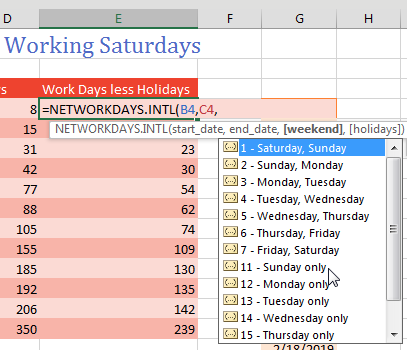 For different weekends, use =NETWORKDAYS.INTL. When you get to the third argument, a list of possible weekends appears. Use 1 for Saturday & Sunday. 2 is Sunday & Monday. 7 is Friday & Saturday. 11 is Sunday only. 17 is Saturday only.