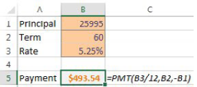 A simple model calculates a loan payment. Choose the payment cell.