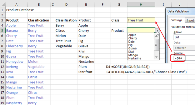 "The product database in A4:B23 lists products and classes. A UNIQUE formula in D4 gets the UNIQUE of class. The person using the worksheet choose from a validation dropdown in H3. The source of that first validation uses the Spiller notation of =D4#. Once they have chosed a Class, then E4 gets a list of matching products with =SORT(FILTER(A4:A23,B4:B23=H3,""Choose Class First"")). A second validation drop-down for Product is in H5. The source for that list is =E4#."