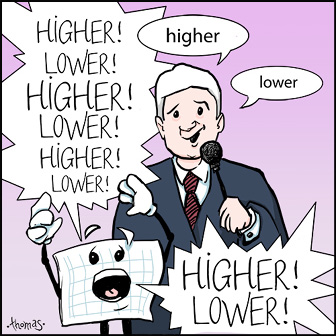 """A cartoon game show host manages to say """"higher"""", """"lower"""". At the same time, a cartoon spreadsheet shouts """"higher"""", """"lower"""" 8 times."""