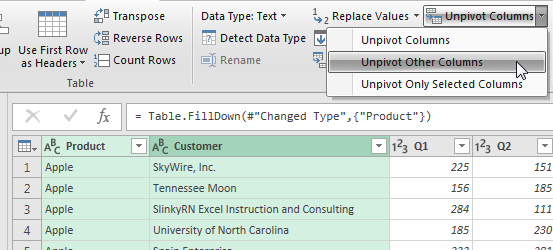 Select columns A and B in Power Query. On the Ribbon, choose Unpivot other columns.