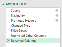 On the right side of the Power Query Editor, a list of Applied Steps. For this example, you have Source, Navigation, Promoted Headers, Changed Type, Filled Down, Unpivoted Other Columsn, Renamed Columns.