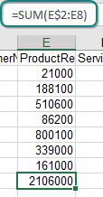 With numbers in E2:E8, you would normally use a formula of =SUM(E2:E8). However, if you record the macro to use =SUM(E$2:E8), the formula will work for any size data set.