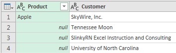 "The blank cells in column A now say ""null"" in the Power Query Editor."