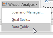 On the Data tab, under What-If Analysis, choose Data Table.