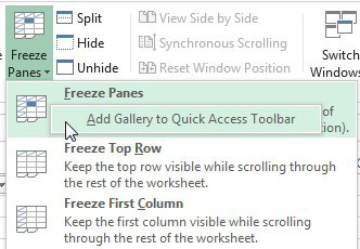 If you try to add Freeze Panes using the right-click trick, it will always Add Gallery to Quick Access Toolbar.