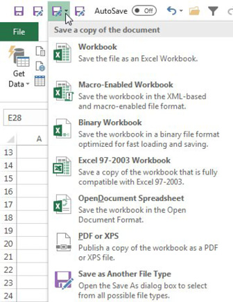 Once on the QAT, the gallery version of Save As Other Format offers Workbook, Macro-Enabled Workbook, Binary Workbook, Excel 97-2003 Workbook, OpenDocument Spreadsheet, PDF or XPS, Savee as Another File Type.
