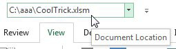 When you add document location to the QAT, you can see the folder name, and can copy it to the clipboard.