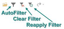 Three filtering icons on the QAT: AutoFilter, Clear Filter, and Reapply Filter.