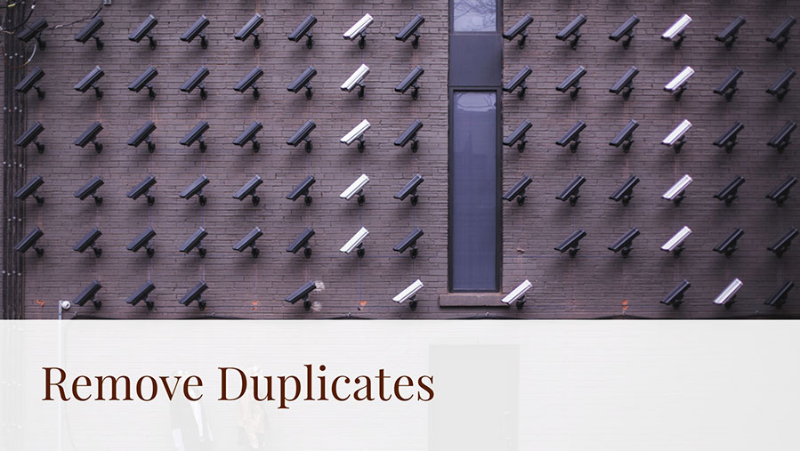 Summarize Data with Remove Duplicates